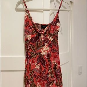 Mink pink red floral mini dress